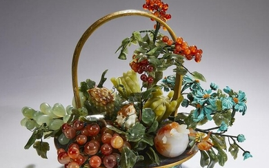 Chinese agate and jade fruits w/ cloisonne basket