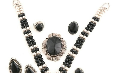 Collection of Native American Black Onyx, Sterling