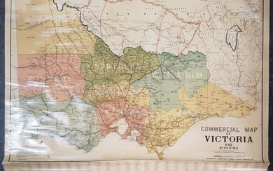 Commercial Map of Victoria & Riverina, on canvas, by J Creffield Ltd 171 King St Melbourne