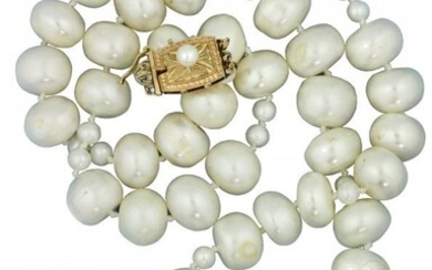 Cultured Pearl, Mabé Pearl, Onyx and Diamond Necklace