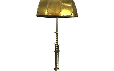 Early 1900s Solid Brass Floor Lamp with Brass Dome