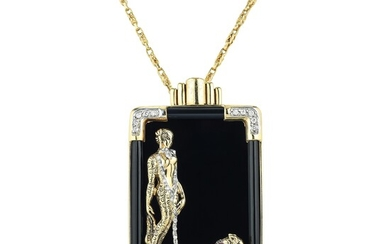Erte Onyx and Diamond Lady and Leopard Pin/Pendant Necklace