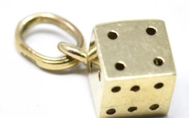 Estate 14kt Yellow Gold Dice Pendant or Charm