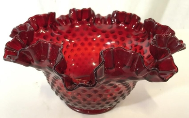 FENTON Cranberry Ruffled Top Hobnail Glass Bowl