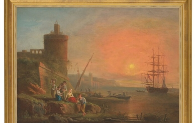 FRANCESCO FIDANZA (ROME 1747-1819 MILAN), A coastal landscape at sunset with fisherfolk by the shore