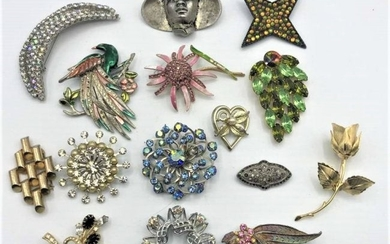 Fifteen [15] Assorted Costume Jewelry Brooches