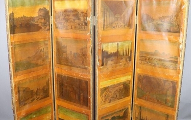 """Four-panel screen decorated with lithographed 18th century boards mounted on canvas, """"Architectural views of the major cities of Europe: The Saint Angelus Bridge, The Great Gallery of Versailles, The Rialto Bridge in Venice, The Vatican Library, The..."""