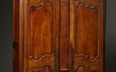 French Provincial Carved Walnut Louis XV Style Armoire