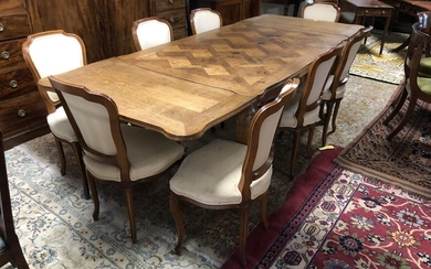 French oak serpentine shaped extending dining table with par...