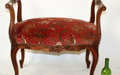 French Louis XV style walnut bench with arms