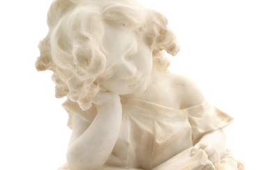 G. Pochini: A carved white alabaster bust of a reading girl. Signed G. Pochini. H. 30 cm.