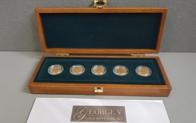 GOLD KING GEORGE V SOVEREIGN MINT MARK SET OF FIVE WITH MINT...