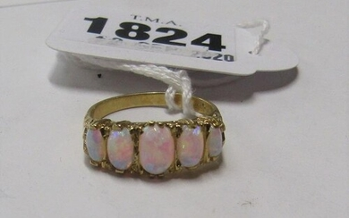 GOLD ON SILVER FIVE STONE OPALINE RING SIZE O/P
