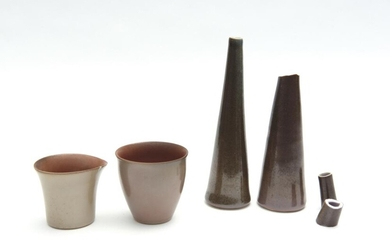 GWYN HANSSEN PIGOTT 'STILL LIFE', WOOD FIRED PORCELAIN COMPRISING TWO CONICAL VASES, BEAKER AND JUG (A/F)
