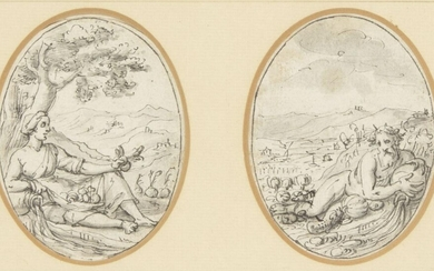 Genoese School, early 17th century- Two mythological figures; pen and...