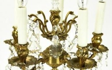 Gilded Bronze & Crystal 5 Arm Electric Candelabra
