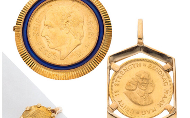 Gold Coin, Enamel, Gold Jewelry Lot The lot consist...