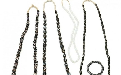 Group of African Trade Bead Necklaces & One Bracelet