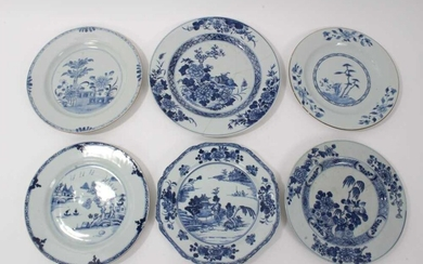 Group of six 18th century Chinese blue and white plates