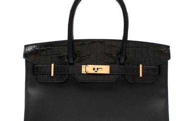HERMÈS | BLACK BIRKIN 30 TOUCH IN LISSE NILOTICUS CROCODILE AND NOVILLO LEATHER WITH ROSE GOLD HARDWARE, 2019