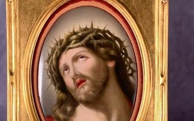 Hand Painted Porcelain Plaque, Christ Crown of Thorns, oval form in gilt frame. Guenther's label verso 6 x 4 in. porcelain 8.5 x 6.5 in. as framed. Condition: Very good with no damage or repair