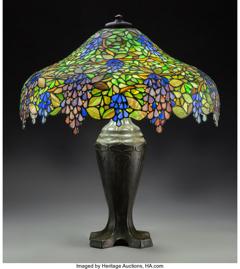 Lot Art | HANDEL LEADED TABLE LAMP.