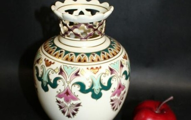 Hungarian Zsolnay hand painted porcelain vase