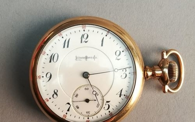 ILLINOIS WATCH & CO. Gold-plated metal pocket watch...