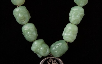 Jadeite Jade Carved Monk Budai Heads Necklace, Sterling