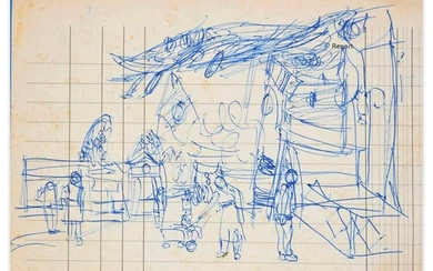 Jeanne Daour Lunapark, Mid XX century Drawing on paper, 13,6...