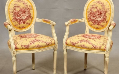 "LOUIS XVI STYLE, OPEN ARM CHAIRS, H 38"", W 22"""