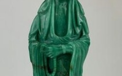 Large Chinese Carved Guanyin on Brass Base