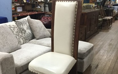Large Mango wood hydraulic chair with cream leather upholste...