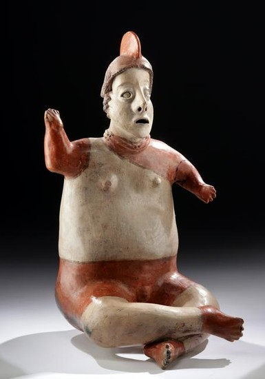 Large Nayarit Polychrome Seated Warrior Figure w/ TL