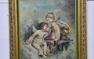 "Large Oil On Canvas - Cherubs 33"" X 24"""