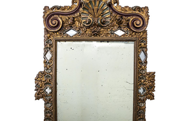Large Spanish mirror with Baroque-style frame in carved, gilt and polychrome wood, made with fragments of the 18th and 19th Centuries.