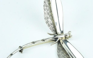 Large Sterling Silver Dragonfly Brooch / Pin