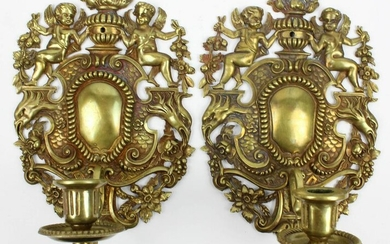 Late 19th c Brass Candle Sconces