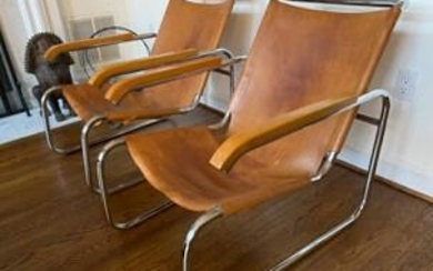 MARCEL BREUER FOR KNOLL LEATHER LOUNGE CHAIRS B35