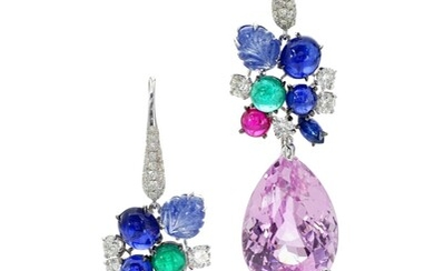 MICHELE DELLA VALLE | PAIR OF GEM SET AND DIAMOND PENDENT EARRINGS