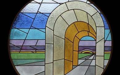 MID CENTURY MODERN STAINED GLASS WINDOW IN FRAME