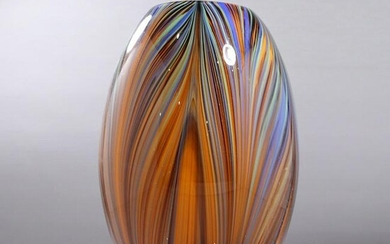 Mid-Century Modern Italian Glass Pulled Feather Vase