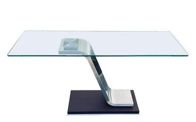 Modern Italian Glass and Wooden Console Table