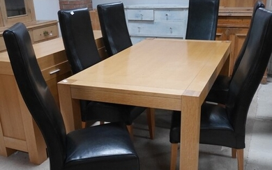 Modern light oak dining table and 6 faux leather chairs with...