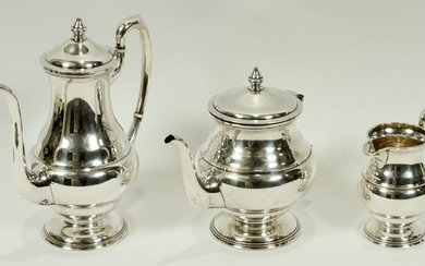 N. S. CO STERLING COFFEE POT, TEAPOT, & CREAMER 3