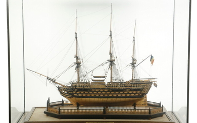 NAPOLEONIC WAR PRISONER-OF-WAR SHIP MODEL, CASED