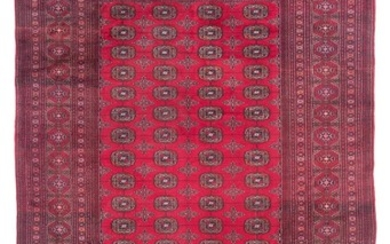 """ORIENTAL RUG: BOUKARA DESIGN 6'6"""" x 10'0"""" Rich red field with four columns of red, black, pale orange and ivory tekke guls. Traditio."""