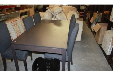 One IKEA Extending Dining Table and Six (New) Henriksdaal Ch...