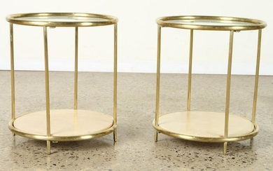 PAIR BRONZE GLASS END TABLES PARCHMENT SHELF 1970