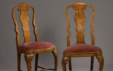 PAIR OF WALNUT CHAIRS in walnut with high...